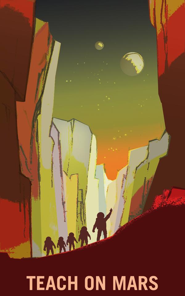 Poster de la Nasa: venez enseigner sur Mars !