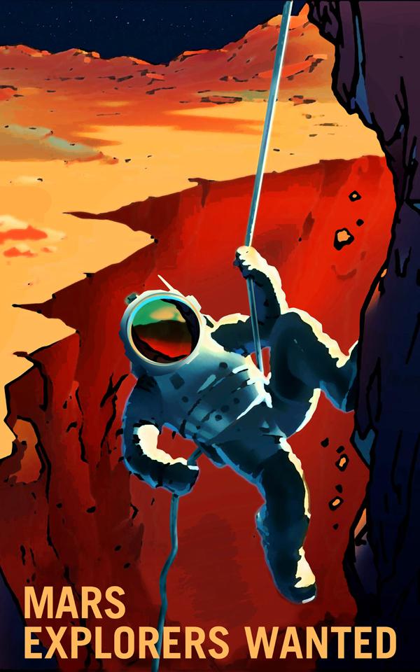 Poster de la Nasa: on recrute des explorateurs pour la conquête de la planète Mars