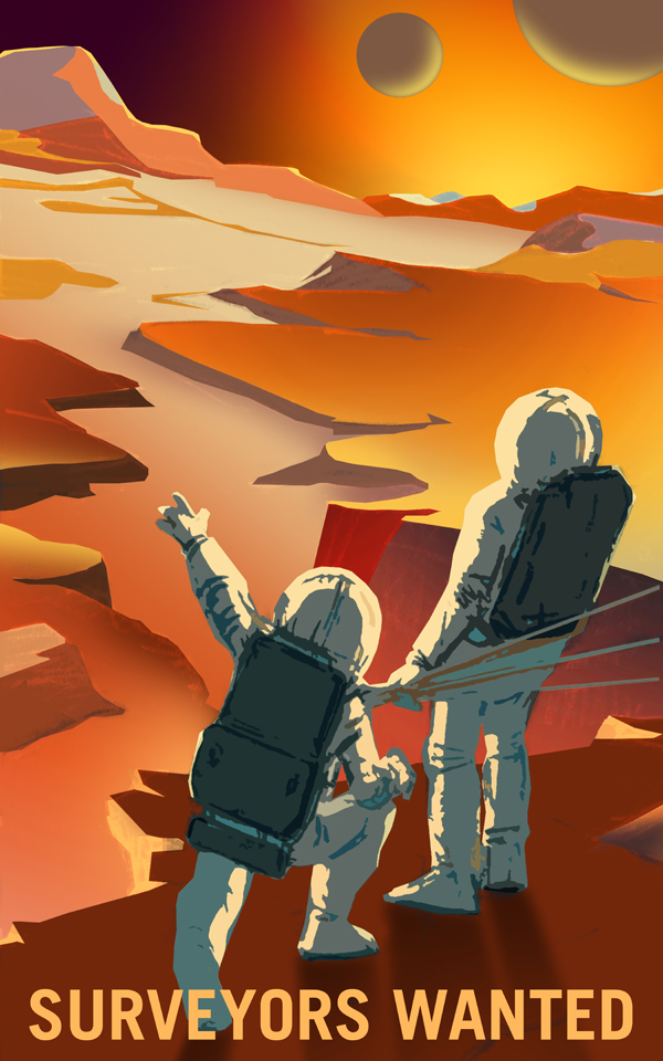 Poster de la Nasa: venez découvrir Mars et ses lunes