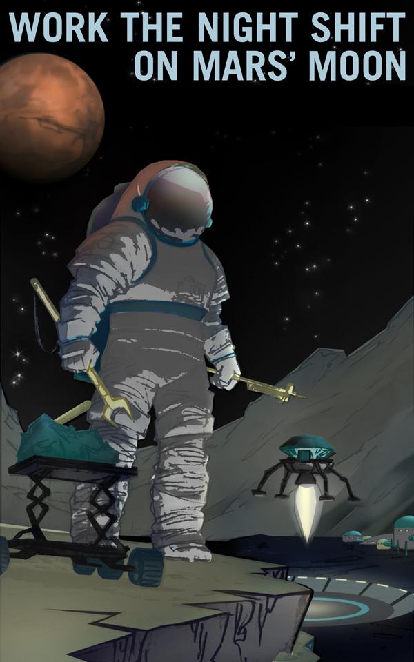 Poster de la Nasa: Venez travailler sur les lunes de Mars