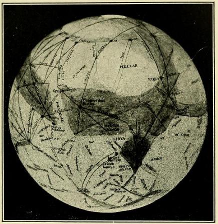 Carte de Mars par Percival Lowell en 1907