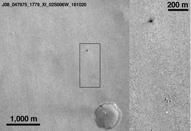 Meridiani Planum après le crash de Schiaparelli