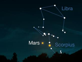 Mars dans le ciel de la mi-avril 2016
