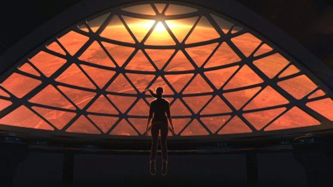 Voyageur en apesanteur devant Mars