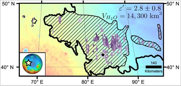 Carte de la glace présente sous la surface d'Utopia Planitia