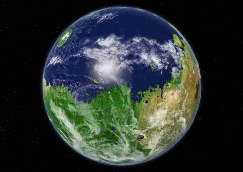 La planète Mars recouverte d'océans et d'une luxuriante végétation.