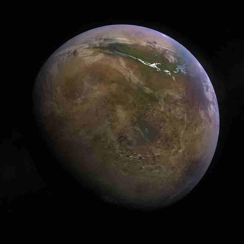 De l'eau et de la végétation dans la région de Vales marineris de Mars