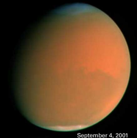 Mars lors d'une tempête de poussière du 4 septembre 2001