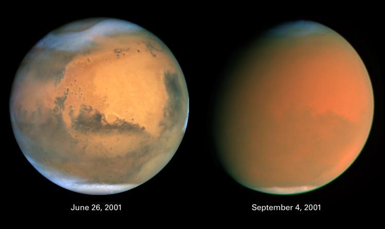 Phase pleine et gibbeuse de la planète Mars