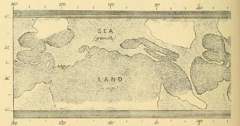 Planisphère de Mars par John Phillips 1865
