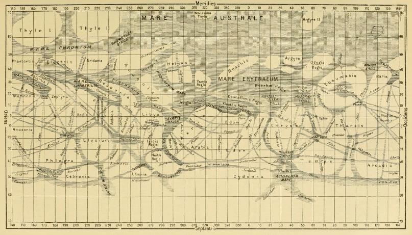 Schiaparelli, carte de canaux de mars, 1886