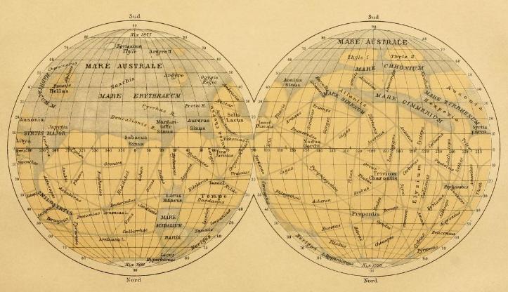 Carte de Mars - Giovani Schiaparelli - 1888