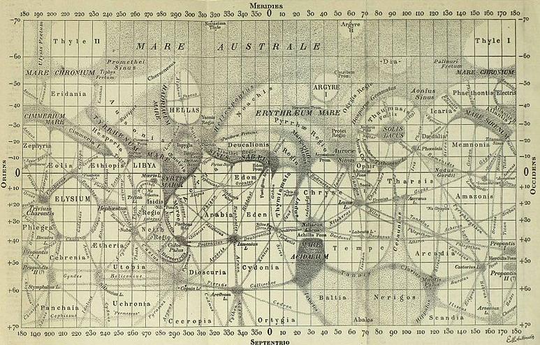 Carte de Mars - Eugène Antoniadi - 1910