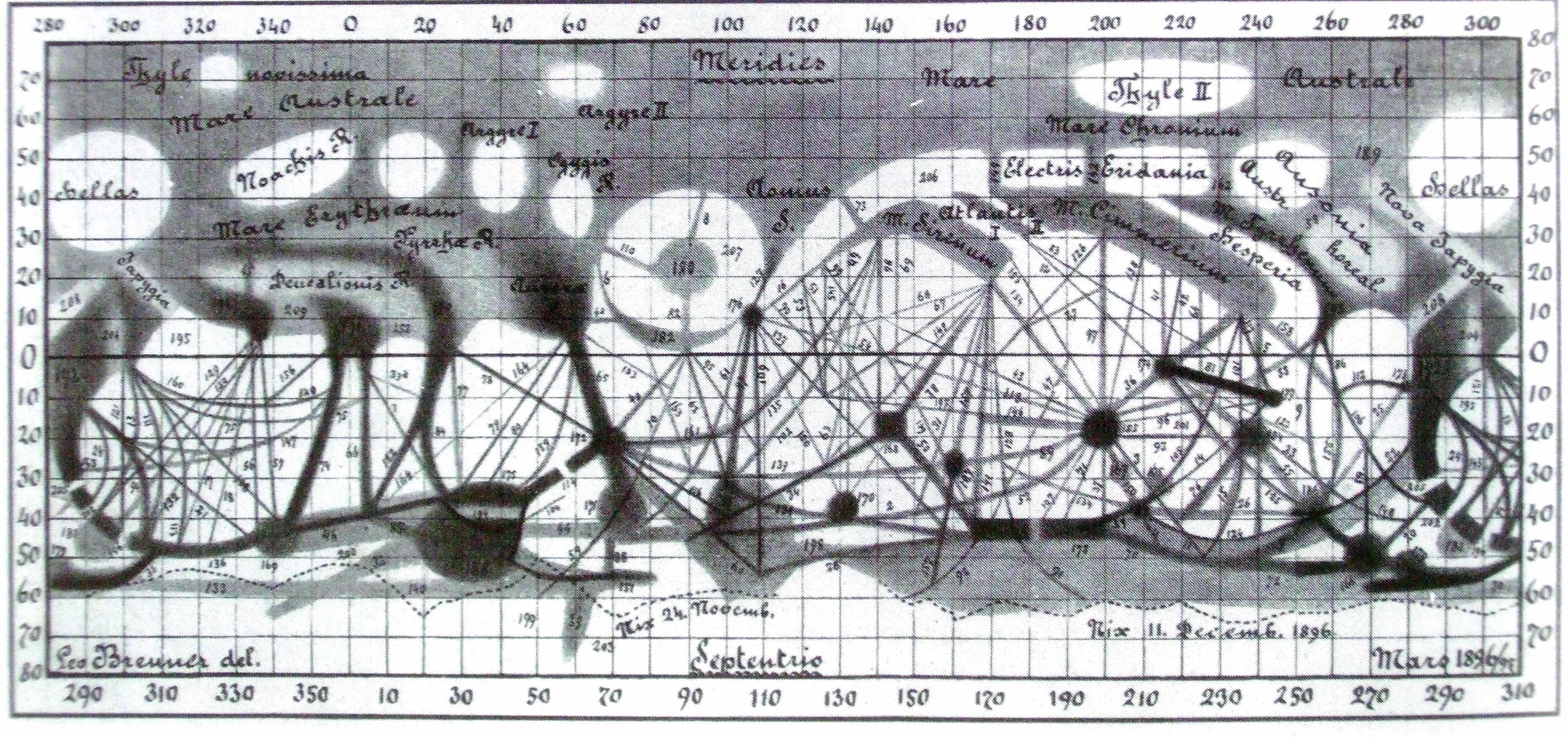 Carte de Mars réalisée par Léo Brenner en 1896